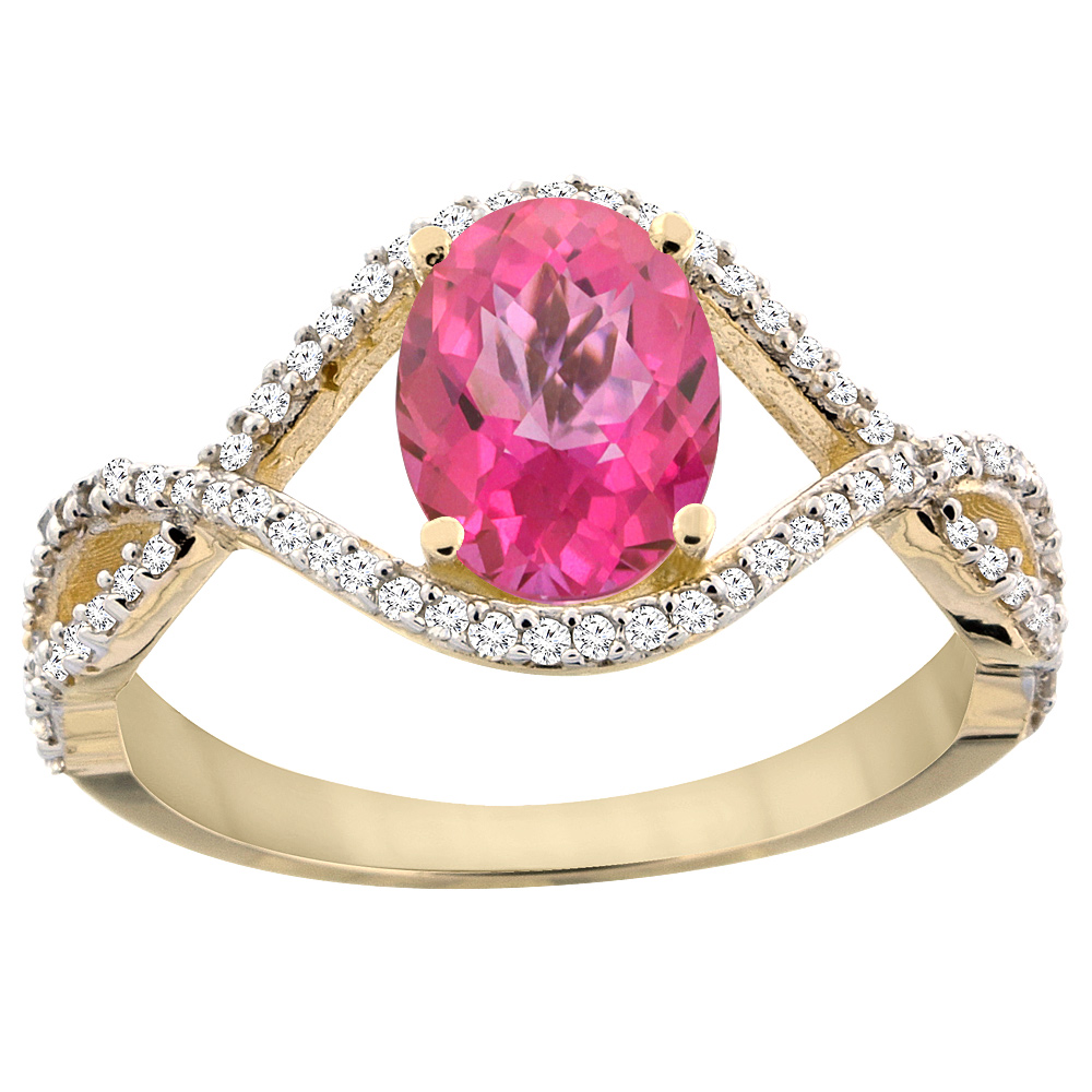 14K Yellow Gold Natural Pink Sapphire Ring Oval 8x6 mm Infinity Diamond Accents, sizes 5 - 10