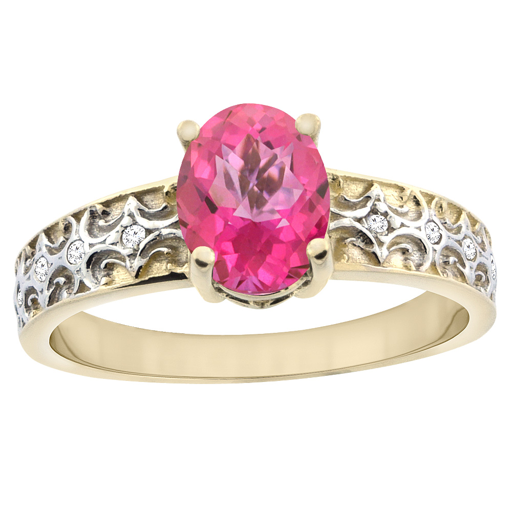 14K Yellow Gold Natural Pink Sapphire Ring Oval 8x6 mm Diamond Accents, sizes 5 - 10