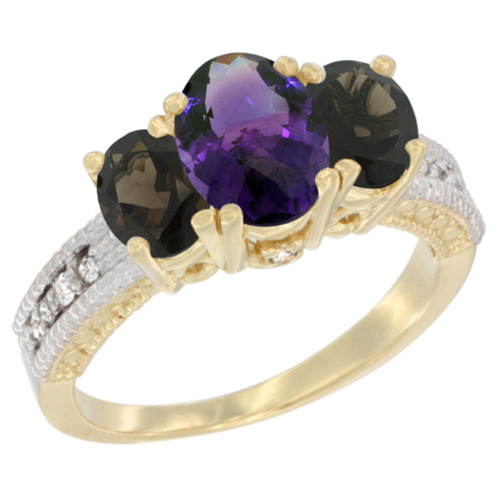 10K Yellow Gold Diamond Natural Amethyst Ring Oval 3-stone with Smoky Topaz, sizes 5 - 10