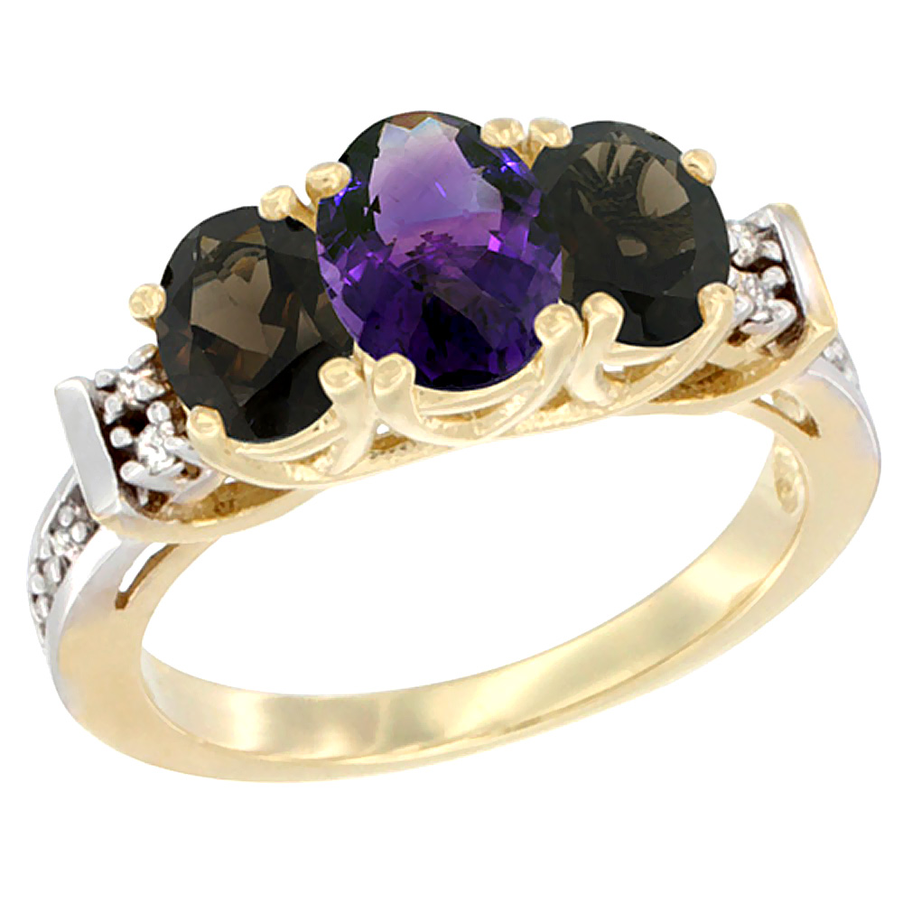10K Yellow Gold Natural Amethyst & Smoky Topaz Ring 3-Stone Oval Diamond Accent