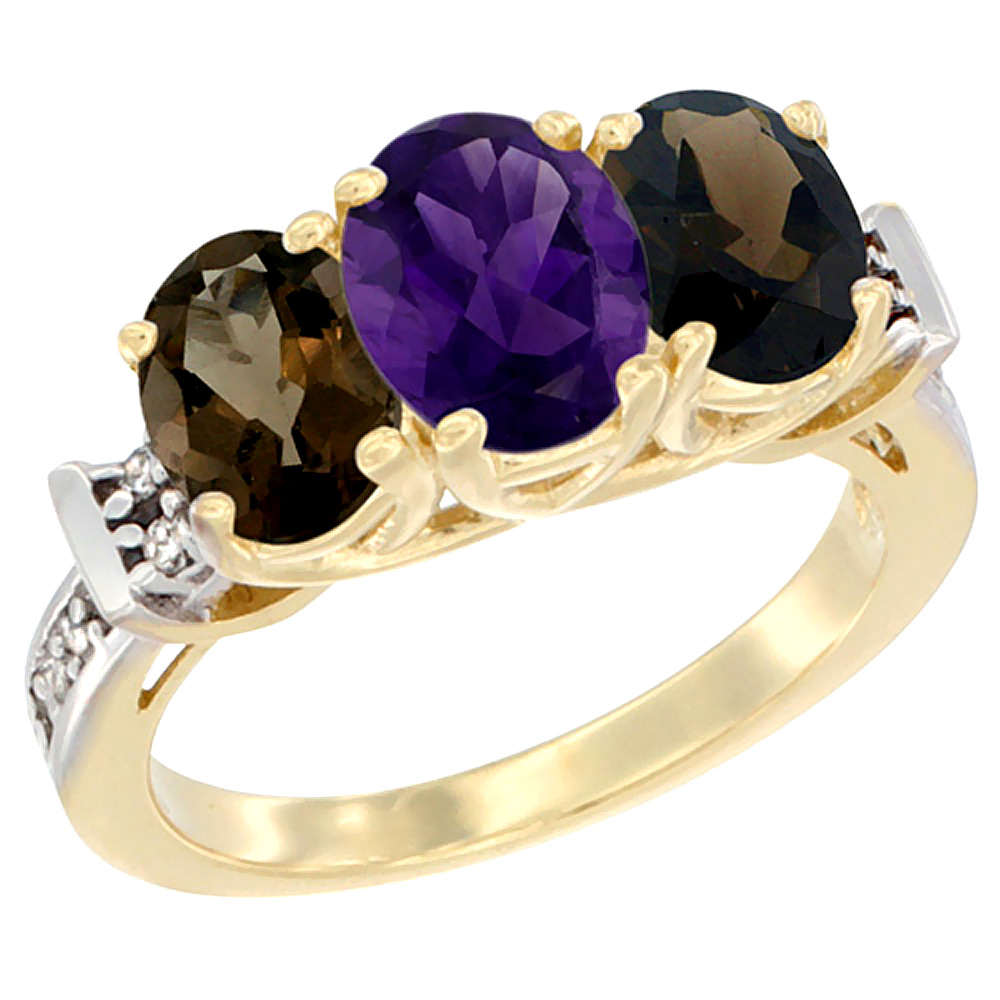 10K Yellow Gold Natural Amethyst & Smoky Topaz Sides Ring 3-Stone Oval Diamond Accent, sizes 5 - 10