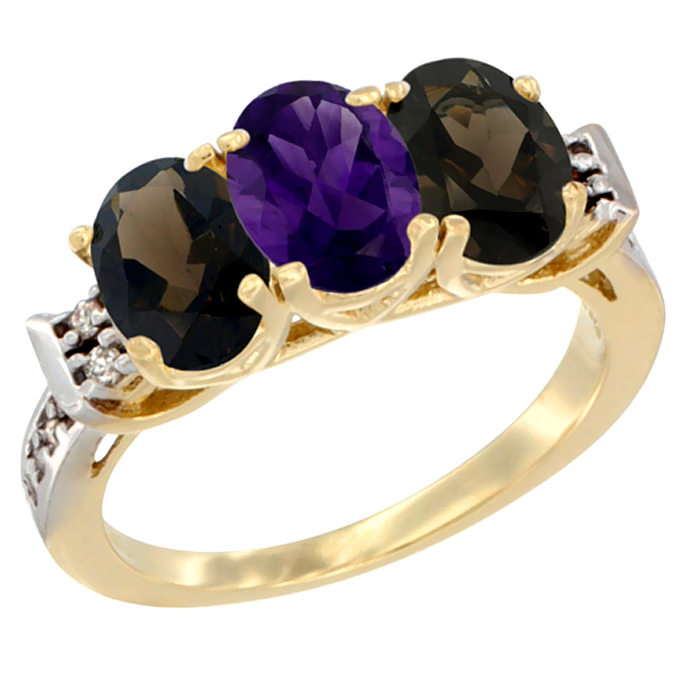 10K Yellow Gold Natural Amethyst & Smoky Topaz Sides Ring 3-Stone Oval 7x5 mm Diamond Accent, sizes 5 - 10