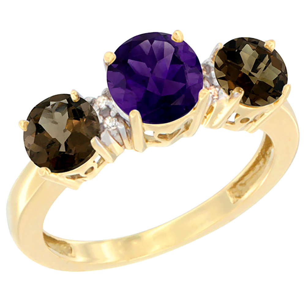10K Yellow Gold Round 3-Stone Natural Amethyst Ring & Smoky Topaz Sides Diamond Accent, sizes 5 - 10