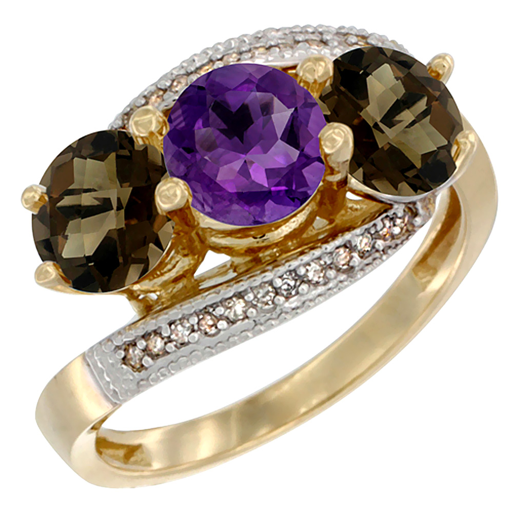 10K Yellow Gold Natural Amethyst & Smoky Topaz Sides 3 stone Ring Round 6mm Diamond Accent, sizes 5 - 10