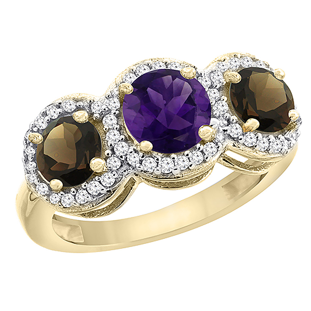 10K Yellow Gold Natural Amethyst & Smoky Topaz Sides Round 3-stone Ring Diamond Accents, sizes 5 - 10