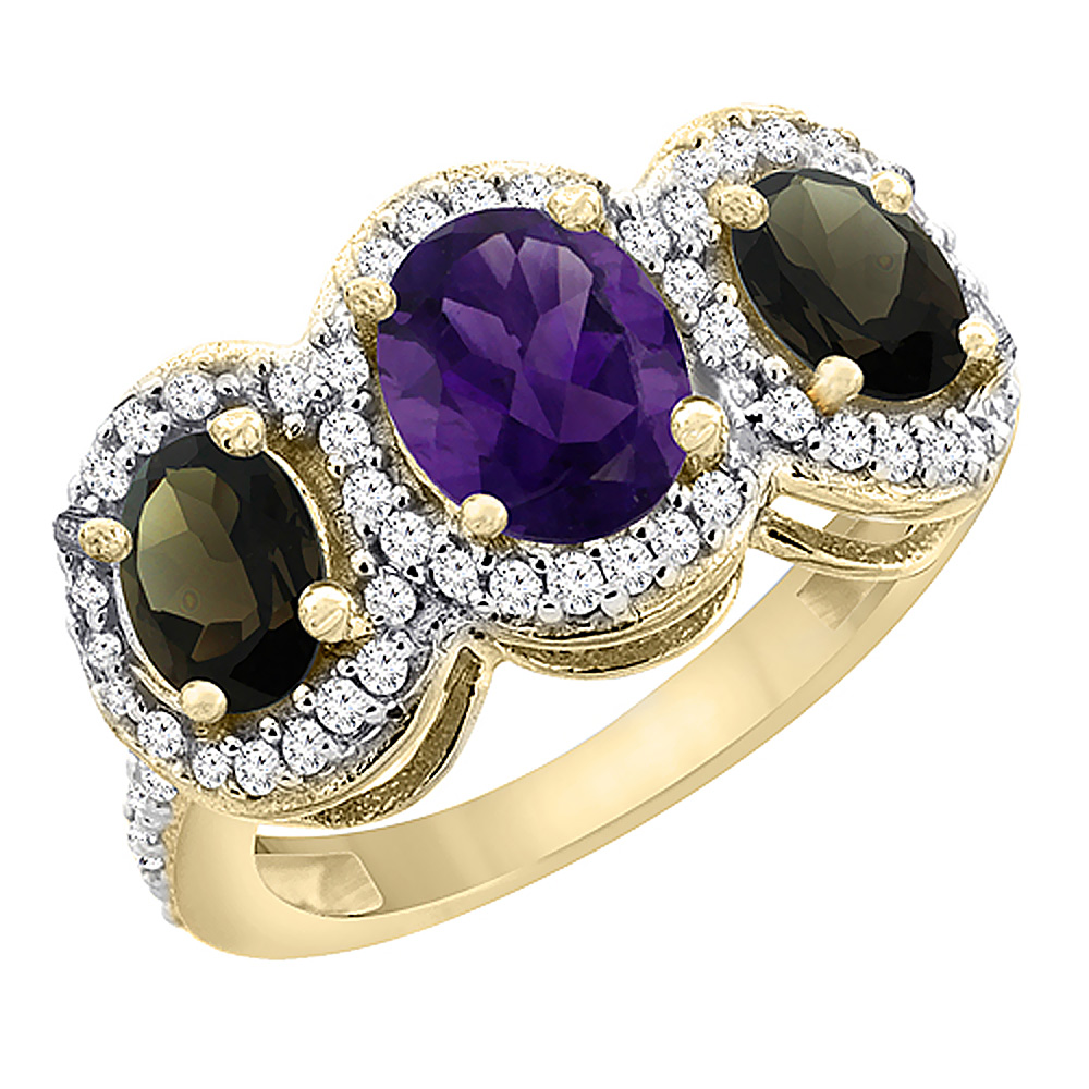 10K Yellow Gold Natural Amethyst & Smoky Topaz 3-Stone Ring Oval Diamond Accent, sizes 5 - 10