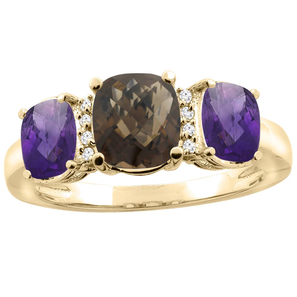 10K Yellow Gold Natural Smoky Topaz & Amethyst 3-stone Ring Cushion 8x6mm Diamond Accent, sizes 5 - 10