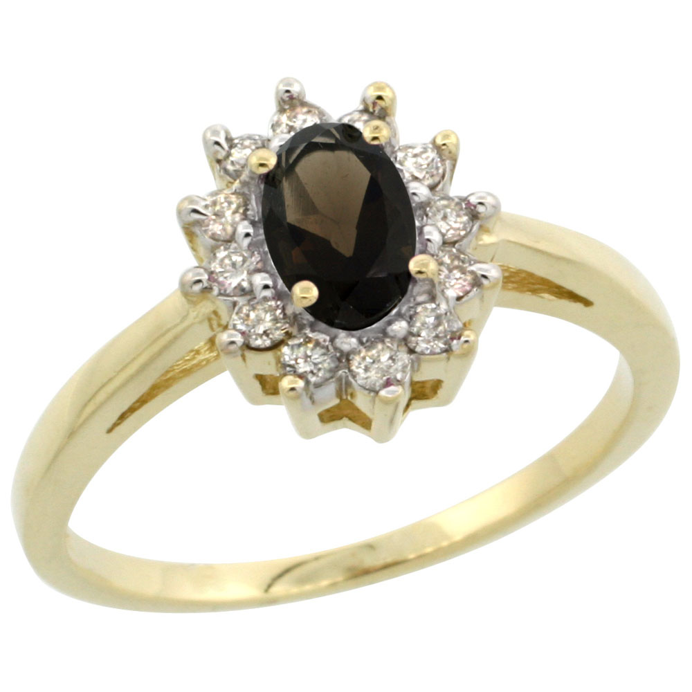 14K Yellow Gold Natural Smoky Topaz Flower Diamond Halo Ring Oval 6x4 mm, sizes 5 10