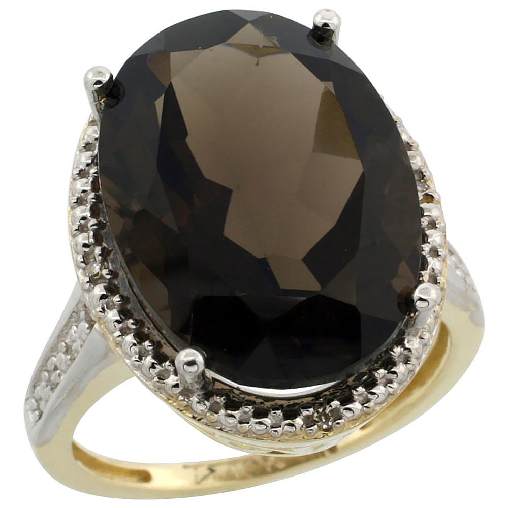 14K Yellow Gold Diamond Natural Smoky Topaz Ring Oval 18x13mm, sizes 5-10
