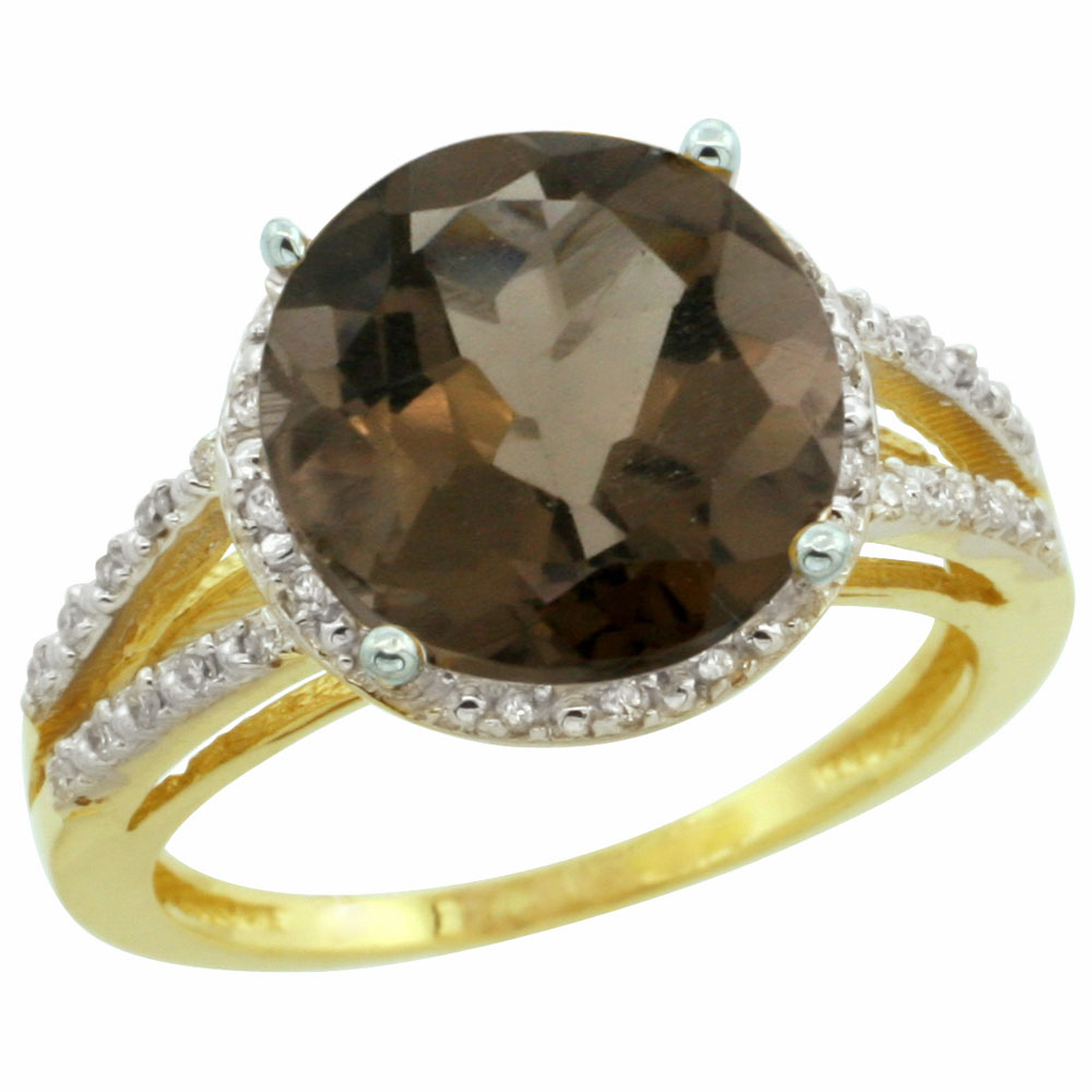 14K Yellow Gold Diamond Natural Smoky Topaz Ring Round 11mm, sizes 5-10