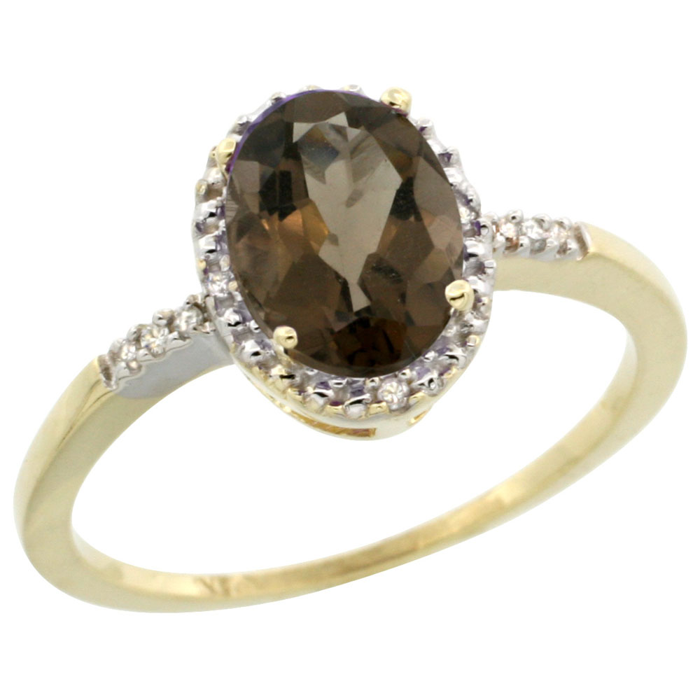 14K Yellow Gold Diamond Natural Smoky Topaz Ring Oval 8x6mm, sizes 5-10