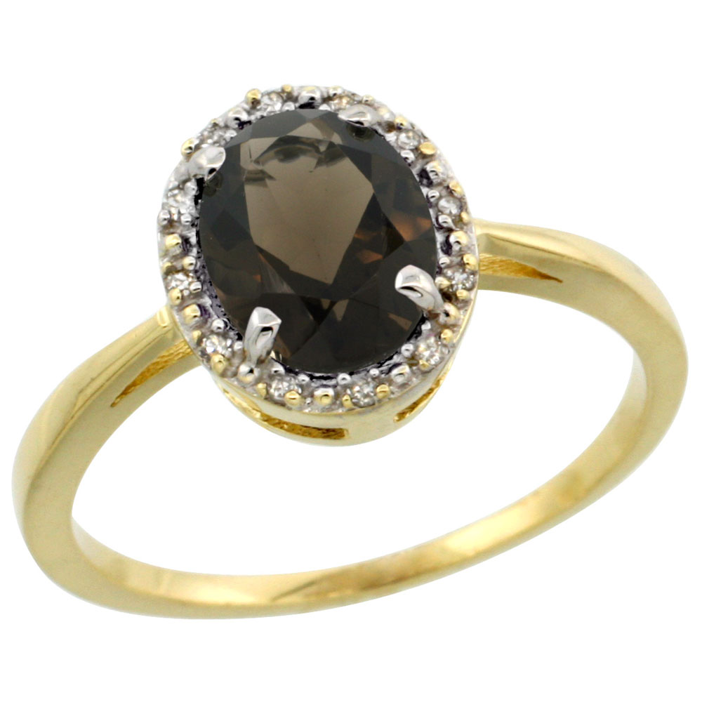 14K Yellow Gold Natural Smoky Topaz Ring Oval 8x6 mm Diamond Halo, sizes 5-10