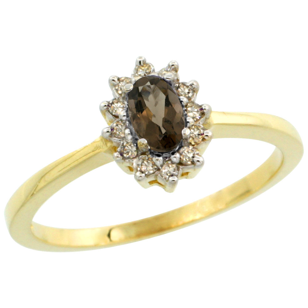 14K Yellow Gold Natural Smoky Topaz Ring Oval 5x3mm Diamond Halo, sizes 5-10