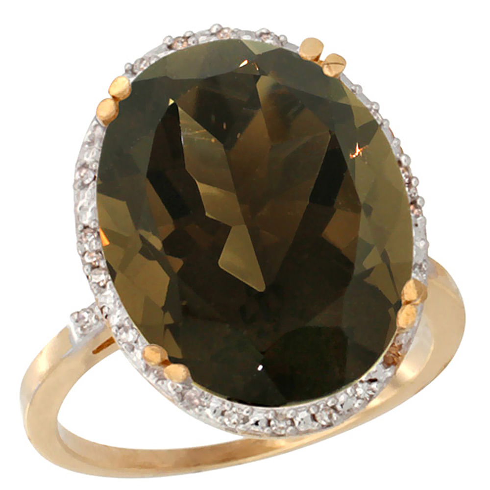 14K Yellow Gold Natural Smoky Topaz Ring Large Oval 18x13mm Diamond Halo, sizes 5-10