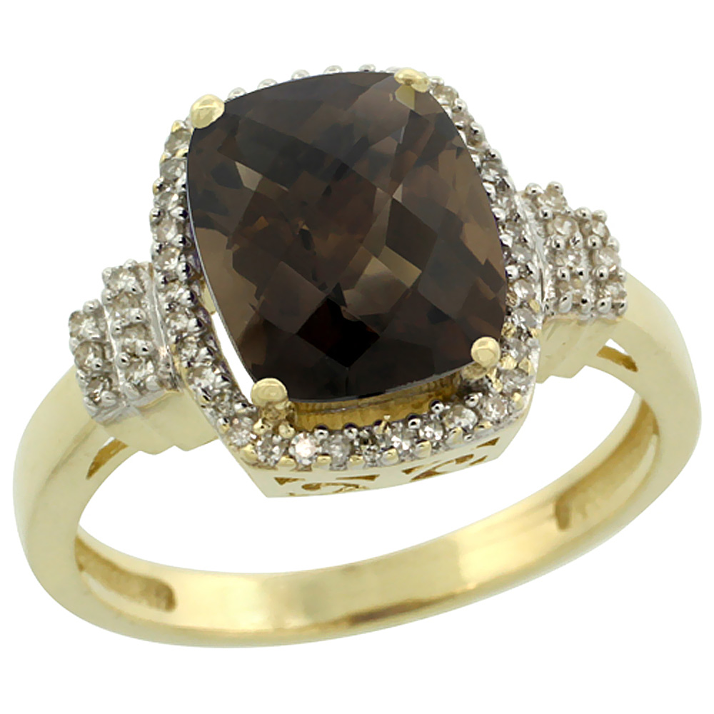 14K Yellow Gold Natural Smoky Topaz Ring Cushion-cut 9x7mm Diamond Halo, sizes 5-10