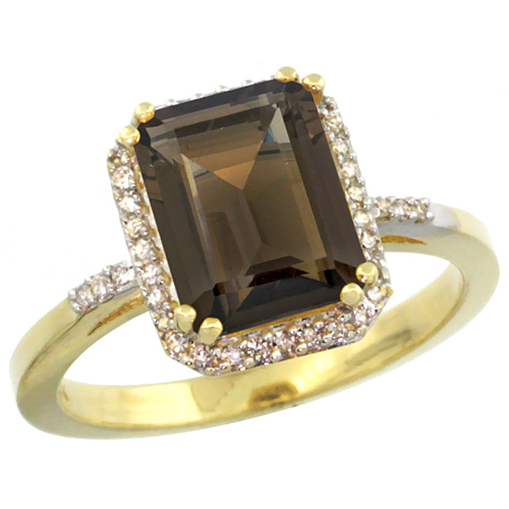 14K Yellow Gold Diamond Natural Smoky Topaz Ring Emerald-cut 9x7mm, sizes 5-10