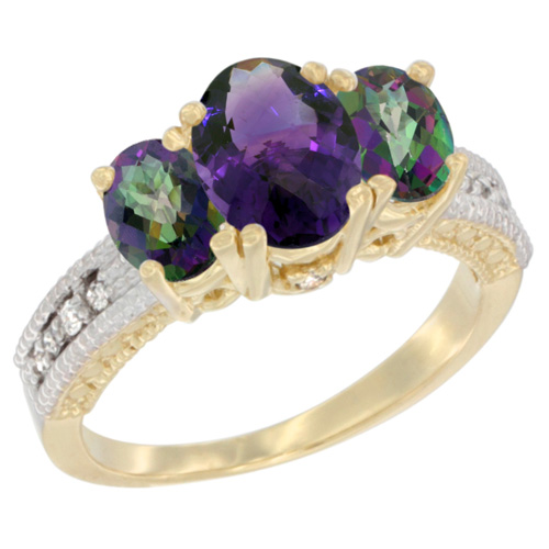 10K Yellow Gold Diamond Natural Amethyst Ring Oval 3-stone with Mystic Topaz, sizes 5 - 10