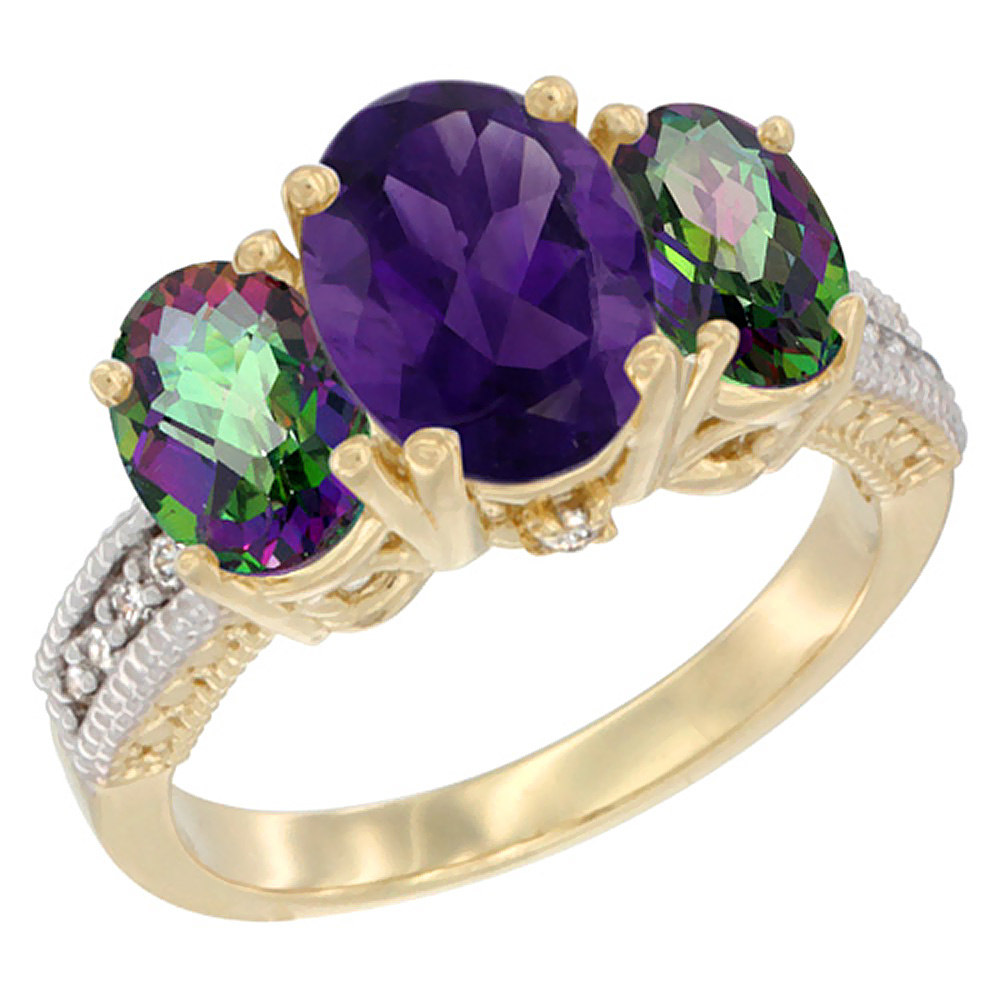 10K Yellow Gold Ladies 3-Stone Oval Natural Amethyst Ring with Mystic Topaz Sides Diamond Accent, sizes 5 - 10