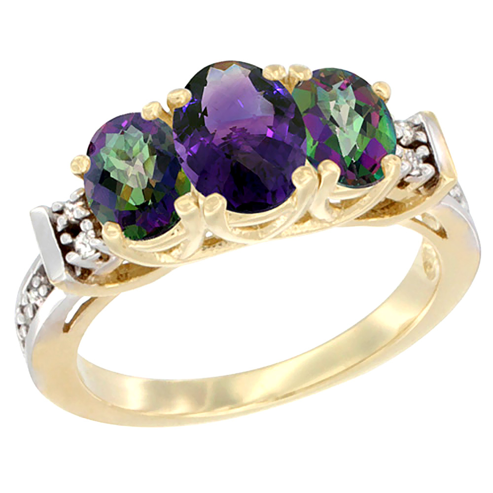 10K Yellow Gold Natural Amethyst & Mystic Topaz Ring 3-Stone Oval Diamond Accent