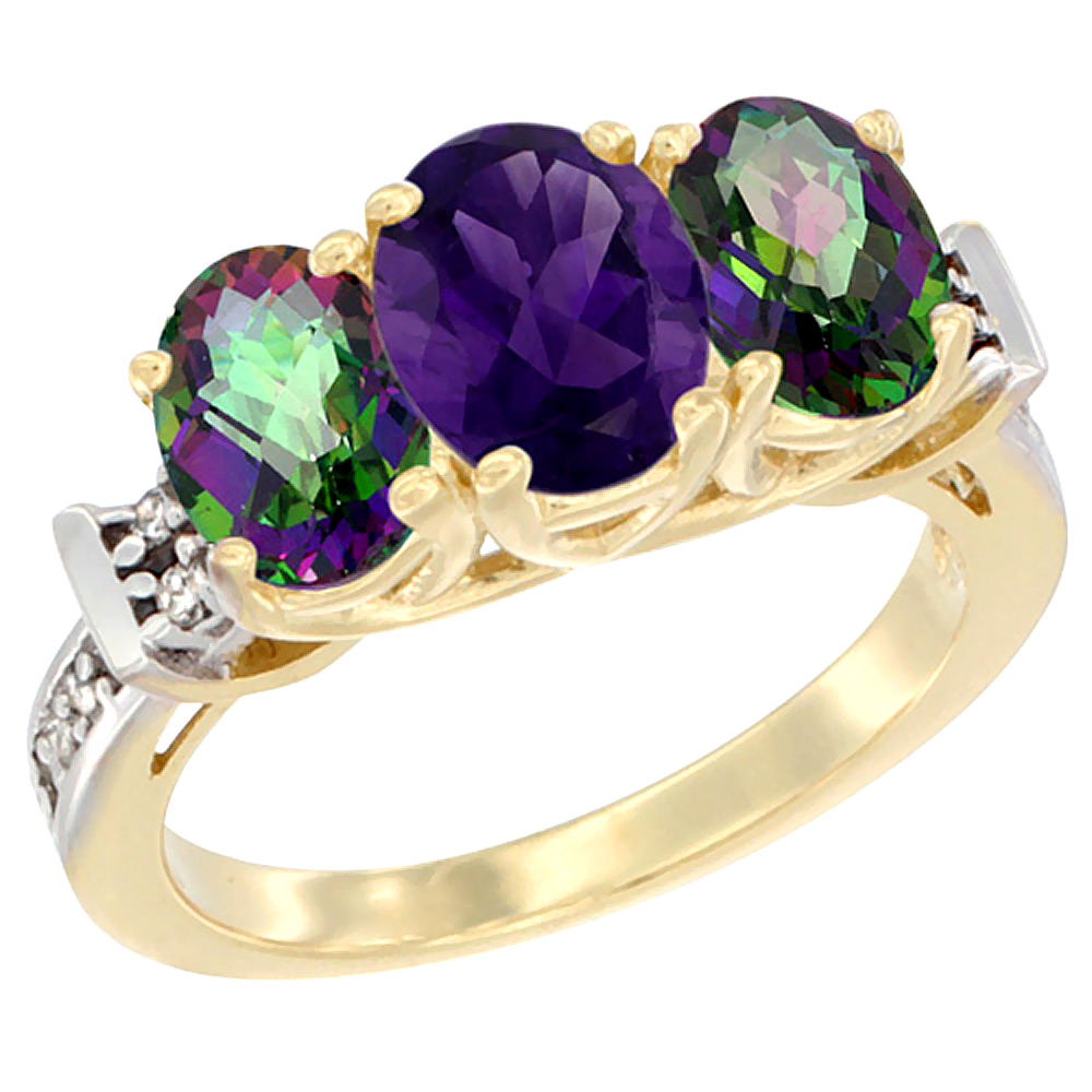 10K Yellow Gold Natural Amethyst & Mystic Topaz Sides Ring 3-Stone Oval Diamond Accent, sizes 5 - 10
