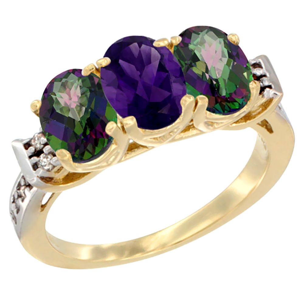 10K Yellow Gold Natural Amethyst & Mystic Topaz Sides Ring 3-Stone Oval 7x5 mm Diamond Accent, sizes 5 - 10