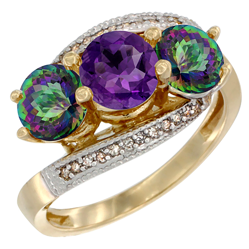 10K Yellow Gold Natural Amethyst & Mystic Topaz Sides 3 stone Ring Round 6mm Diamond Accent, sizes 5 - 10