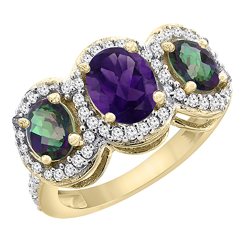 10K Yellow Gold Natural Amethyst & Mystic Topaz 3-Stone Ring Oval Diamond Accent, sizes 5 - 10