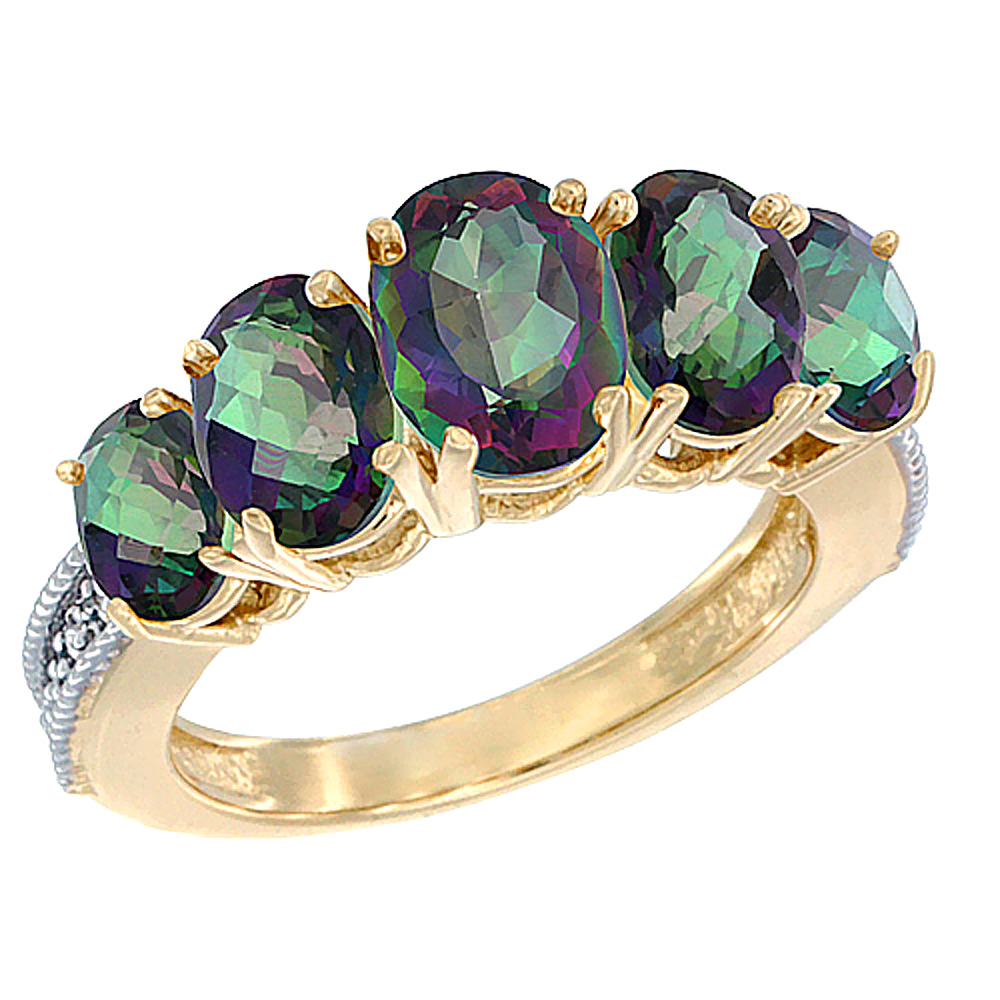 14K Yellow Gold Diamond Natural Mystic Topaz Ring 5-stone Oval 8x6 Ctr,7x5,6x4 sides, sizes 5 - 10