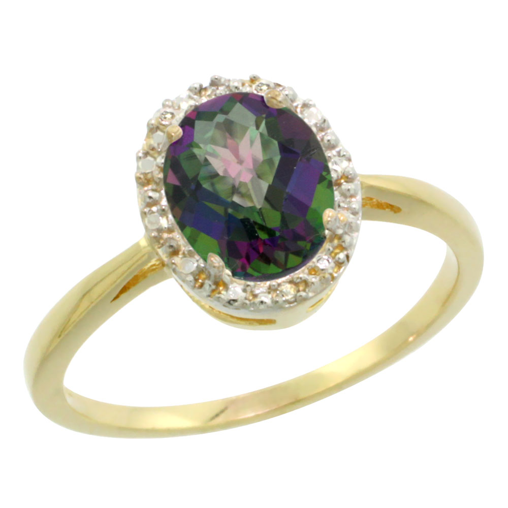 10K Yellow Gold Natural Mystic Topaz Diamond Halo Ring Oval 8X6mm, sizes 5 10
