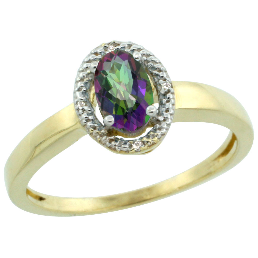 10K Yellow Gold Natural Diamond Halo Mystic Topaz Engagement Ring Oval 6X4 mm, sizes 5-10