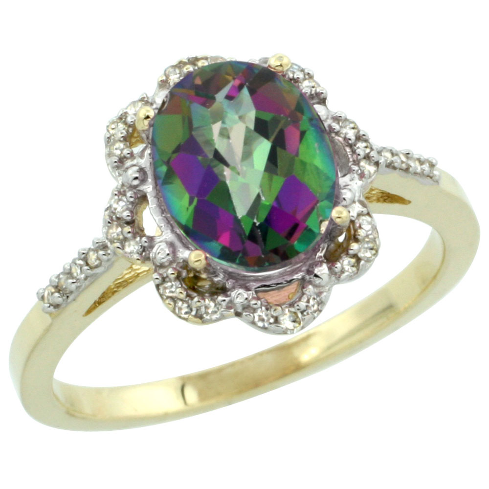 14K Yellow Gold Natural Diamond Halo Mystic Topaz Engagement Ring Oval 9x7mm, sizes 5-10