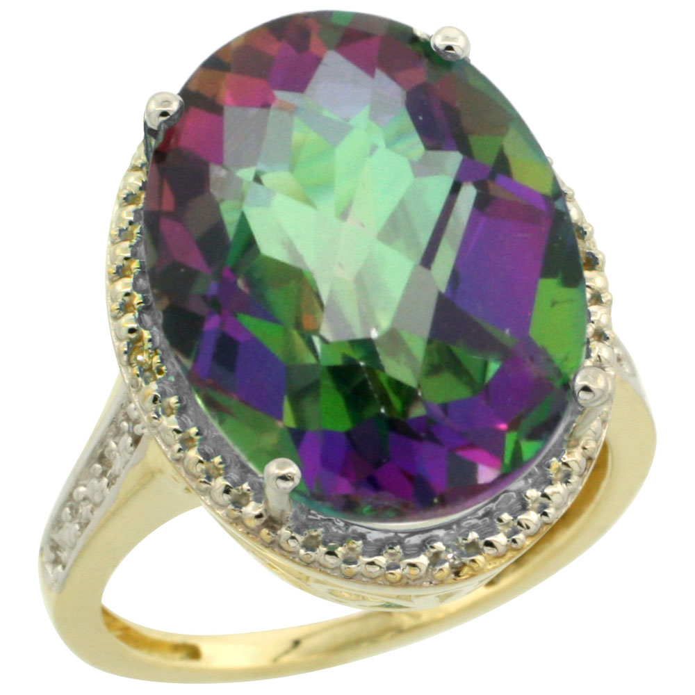 14K Yellow Gold Natural Diamond Mystic Topaz Ring Oval 18x13mm, sizes 5-10