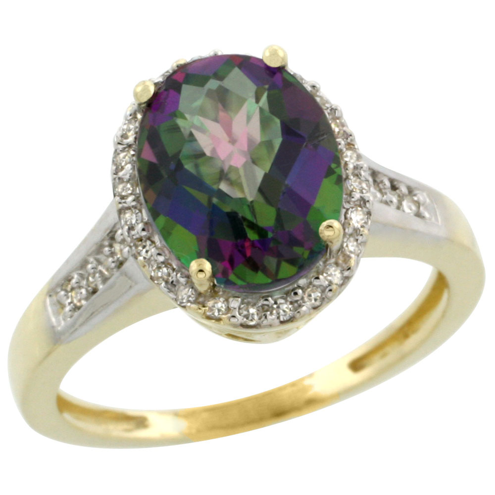 10K Yellow Gold Natural Diamond Mystic Topaz Engagement Ring Oval 10x8mm, sizes 5-10