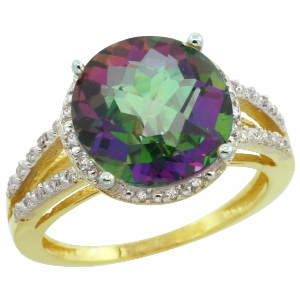 14K Yellow Gold Natural Diamond Mystic Topaz Ring Round 11mm, sizes 5-10