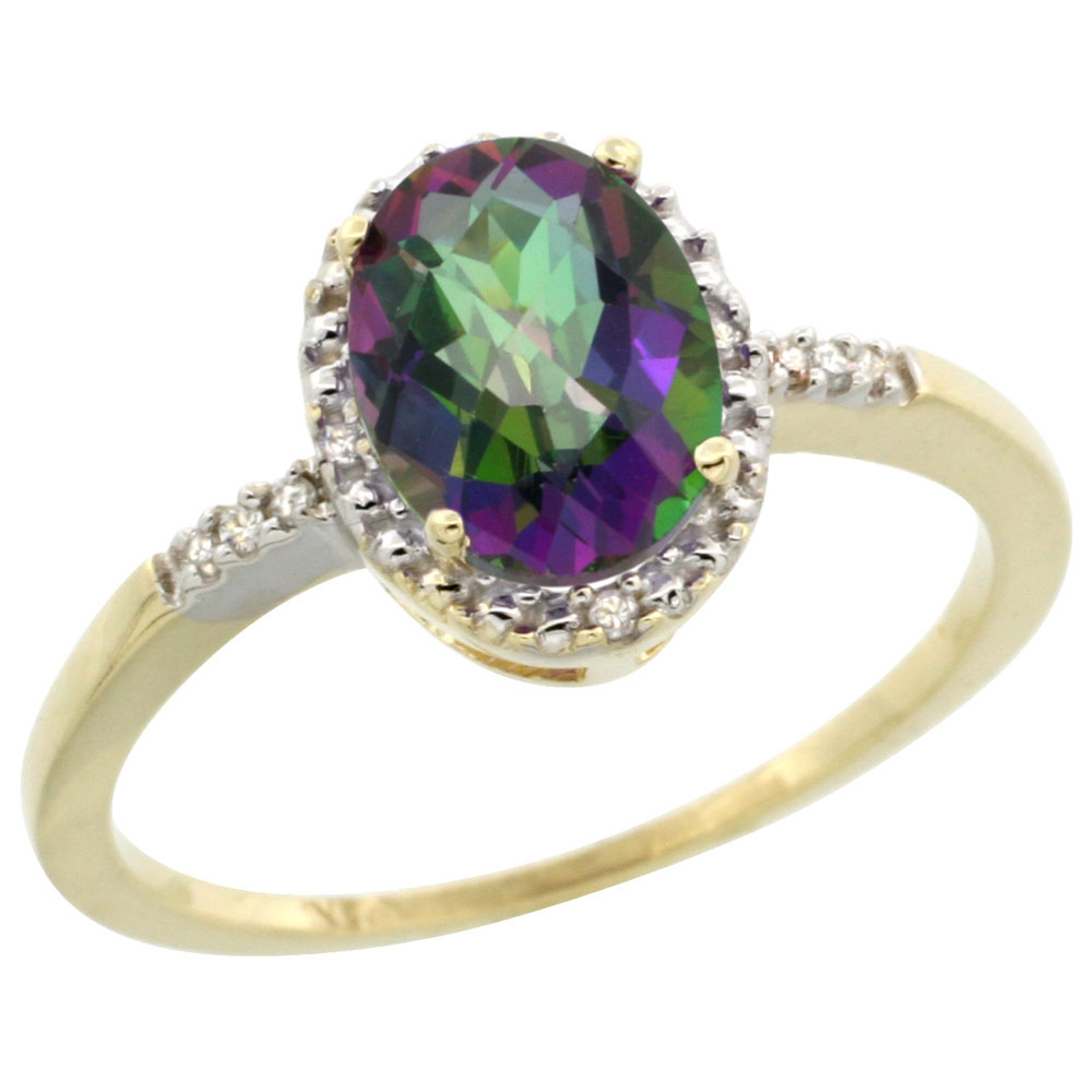 10K Yellow Gold Natural Diamond Mystic Topaz Ring Oval 8x6mm, sizes 5-10
