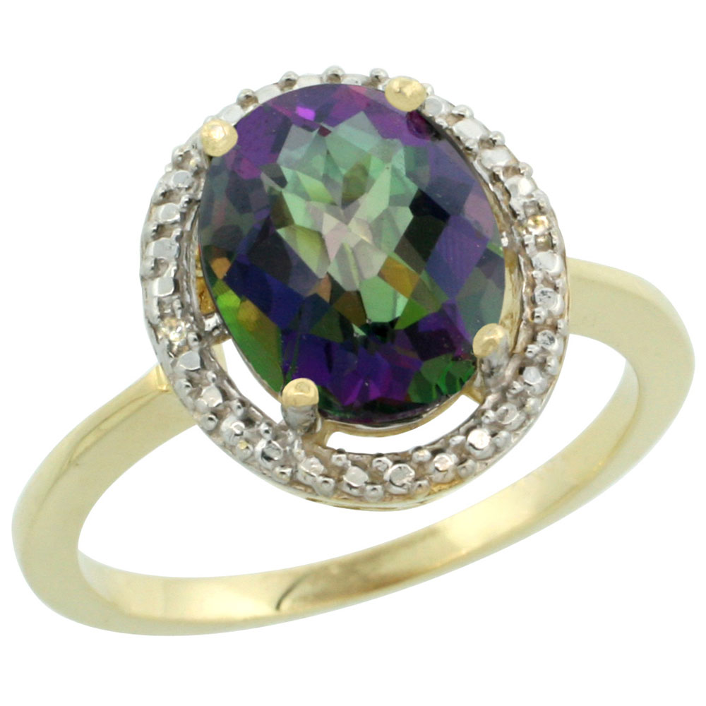 14K Yellow Gold Natural Diamond Mystic Topaz Engagement Ring Oval 10x8mm, sizes 5-10