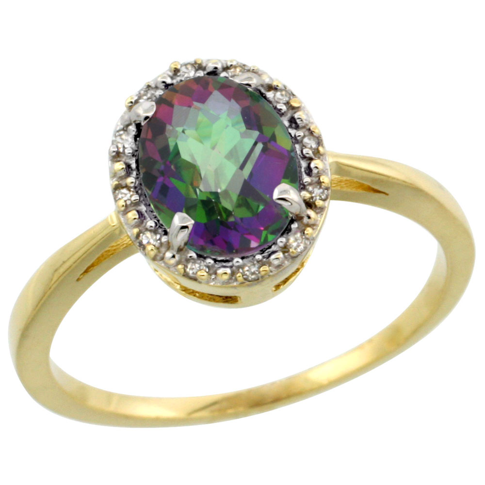 10k Yellow Gold Natural Mystic Topaz Ring Oval 8x6 mm Diamond Halo, sizes 5-10