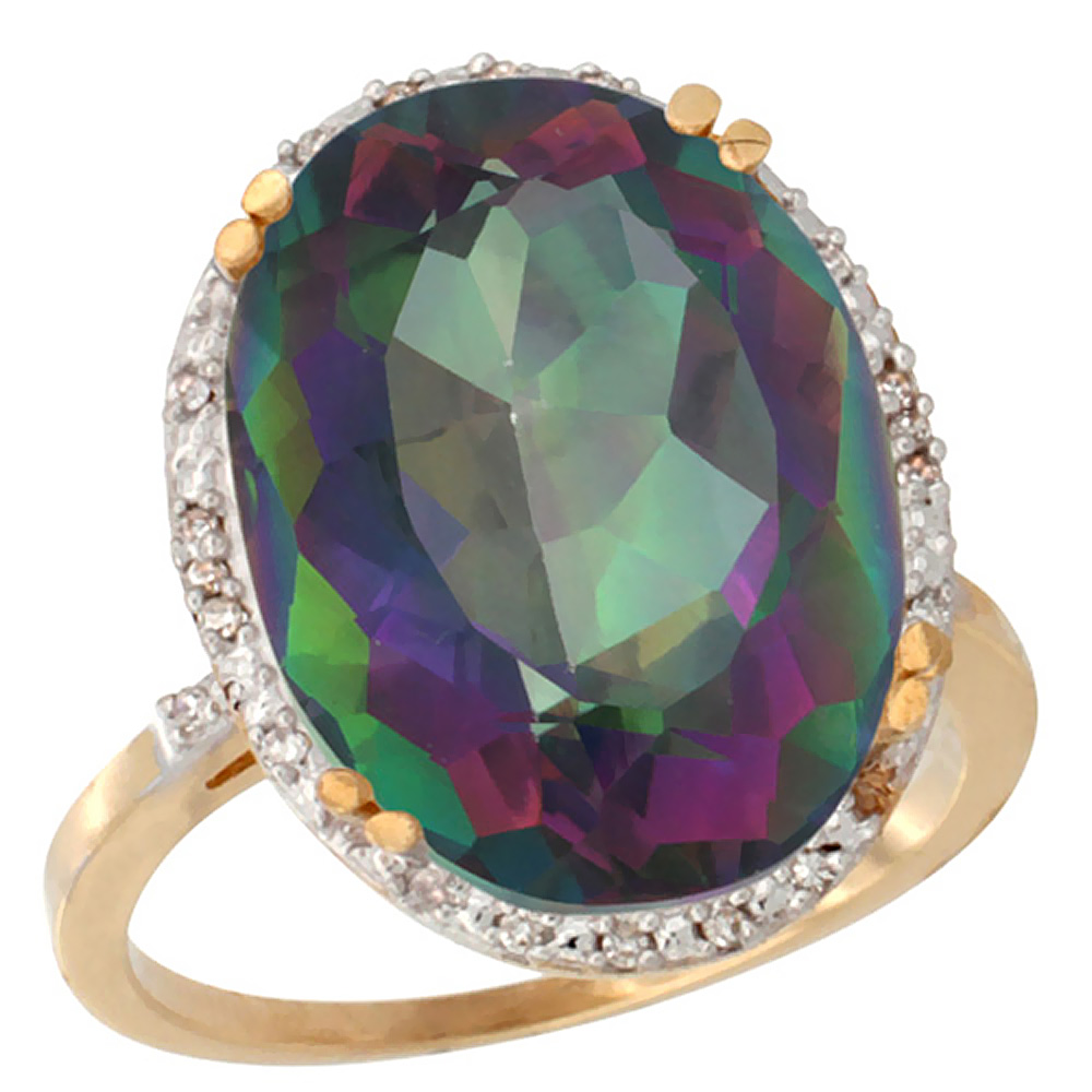 14K Yellow Gold Natural Mystic Topaz Ring Large Oval 18x13mm Diamond Halo, sizes 5-10