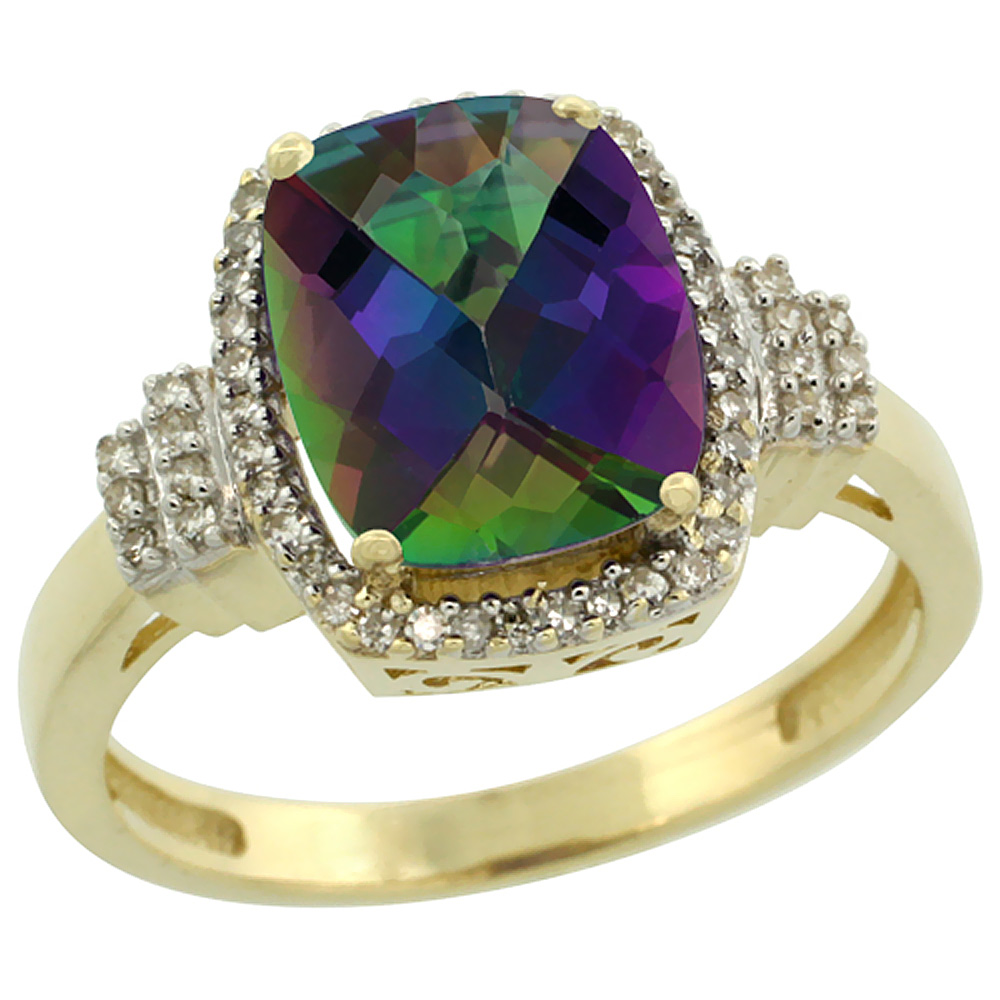 14K Yellow Gold Natural Mystic Topaz Ring Cushion-cut 9x7mm Diamond Halo, sizes 5-10