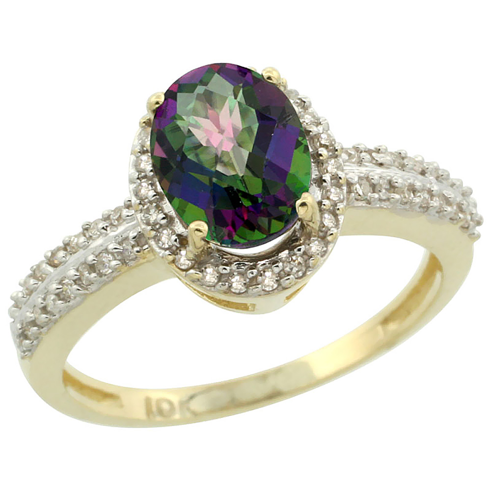 14K Yellow Gold Natural Mystic Topaz Ring Oval 8x6mm Diamond Halo, sizes 5-10
