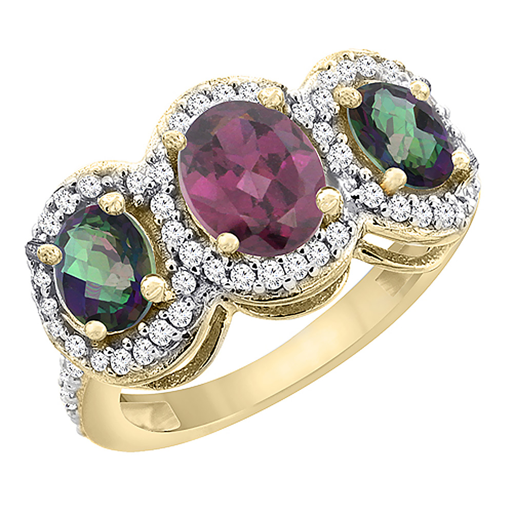 10K Yellow Gold Natural Rhodolite & Mystic Topaz 3-Stone Ring Oval Diamond Accent, sizes 5 - 10