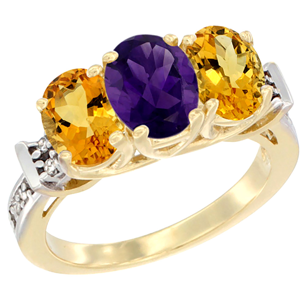 10K Yellow Gold Natural Amethyst & Citrine Sides Ring 3-Stone Oval Diamond Accent, sizes 5 - 10