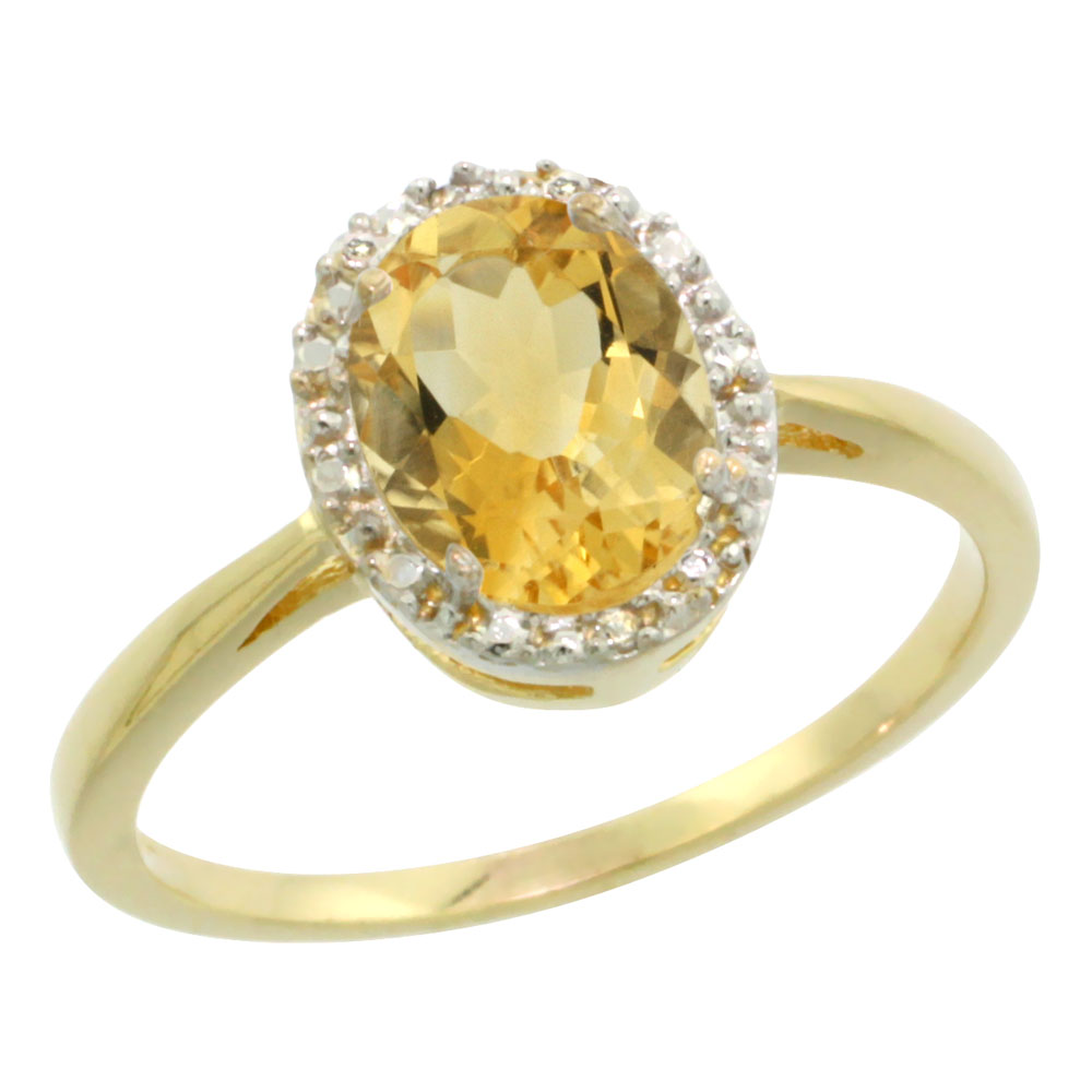 10K Yellow Gold Natural Citrine Diamond Halo Ring Oval 8X6mm, sizes 5-10