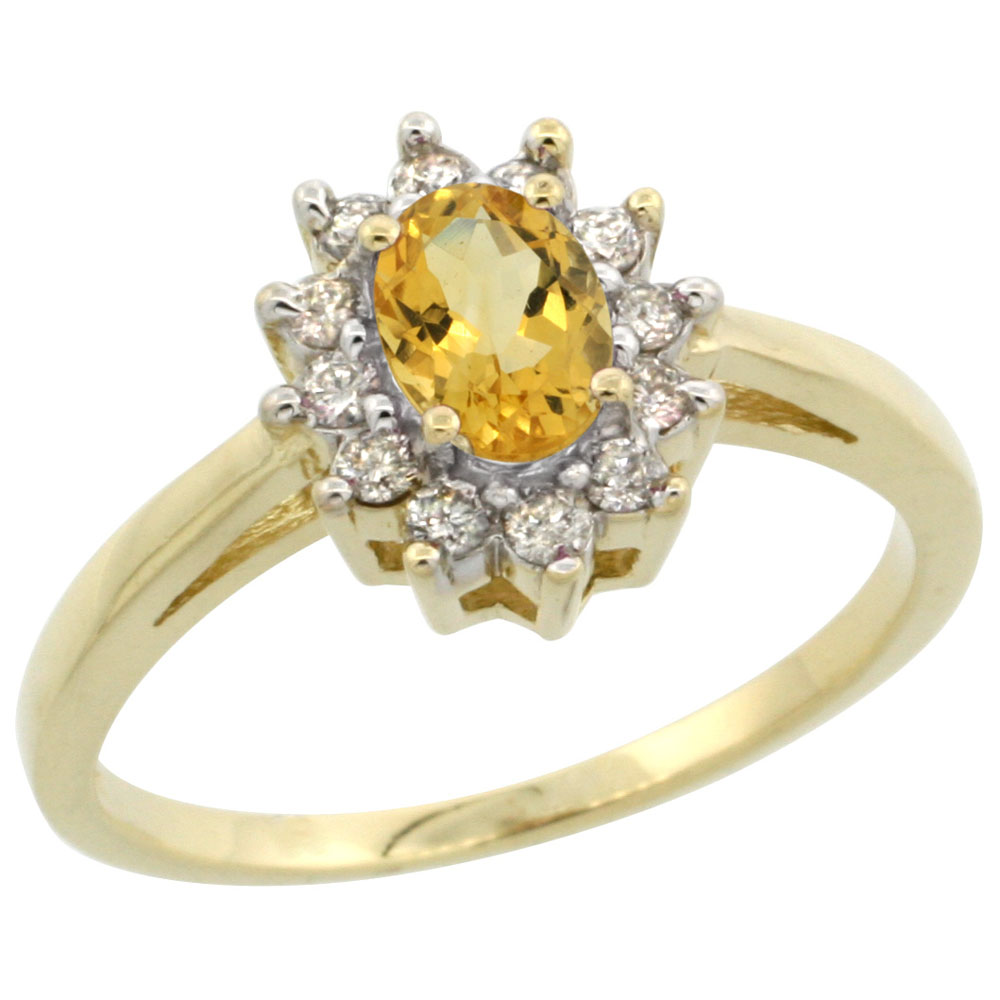14K Yellow Gold Natural Citrine Flower Diamond Halo Ring Oval 6x4 mm, sizes 5-10