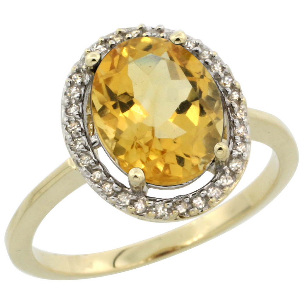 10K Yellow Gold Diamond Halo Natural Citrine Engagement Ring Oval 10x8 mm, sizes 5-10
