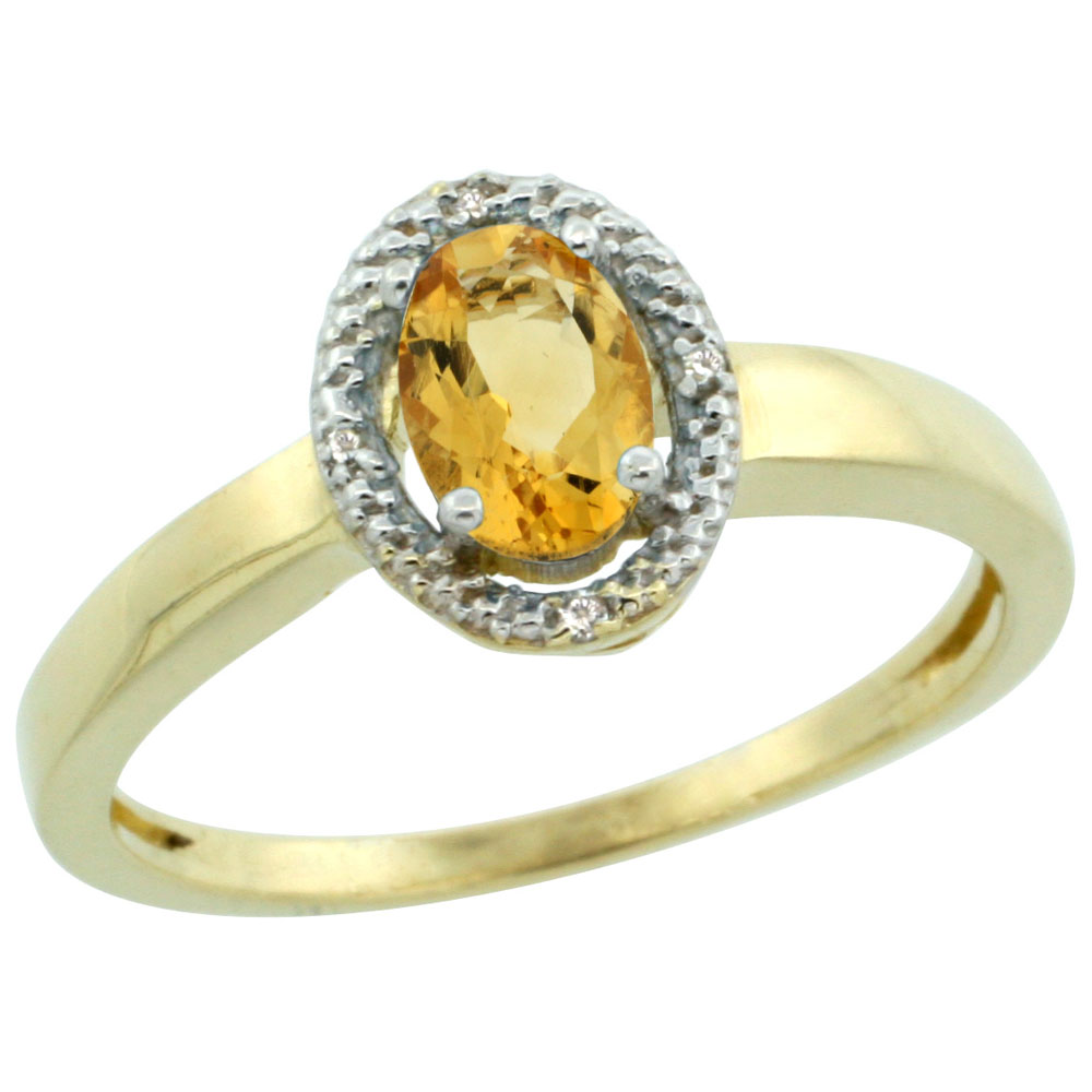 14K Yellow Gold Diamond Halo Natural Citrine Engagement Ring Oval 6X4 mm, sizes 5-10
