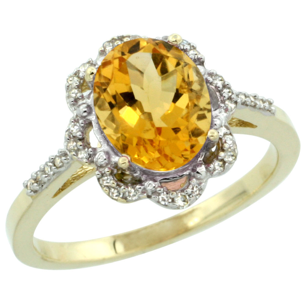 14K Yellow Gold Diamond Halo Natural Citrine Engagement Ring Oval 9x7mm, sizes 5-10