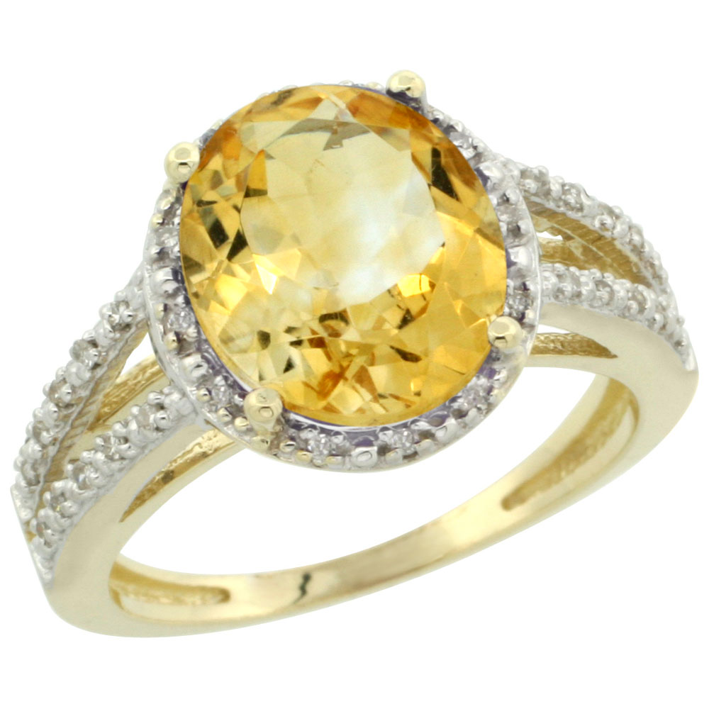 14K Yellow Gold Natural Citrine Diamond Halo Ring Oval 11x9mm, sizes 5-10