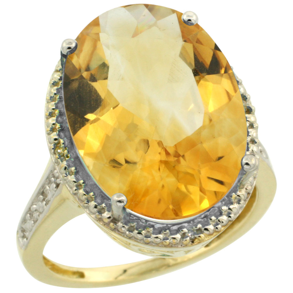 14K Yellow Gold Diamond Natural Citrine Ring Oval 18x13mm, sizes 5-10