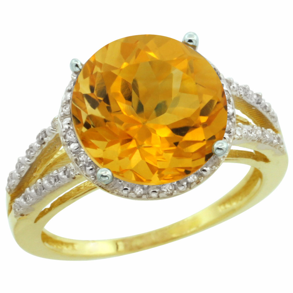 10K Yellow Gold Diamond Natural Citrine Ring Round 11mm, sizes 5-10